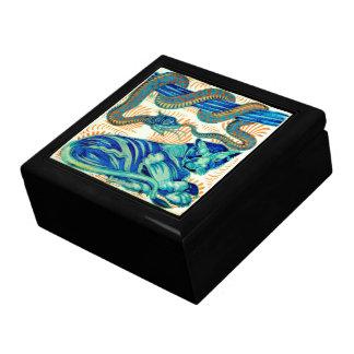 Snake & Jungle Cat Ceramic Tile 19th Cen.-Box 1 Gift Boxes
