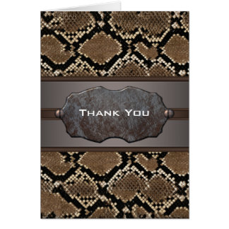 Snake Leather Masculine Thank You Note Card