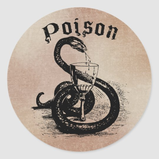 Snake Poison Halloween Gothic Round Sticker