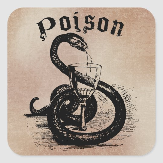 Snake Poison Halloween Gothic Square Sticker