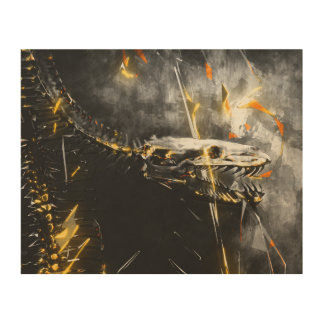 Snake skeleton wall art - conflict between life wood canvas