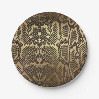 Snake Skin Animal Print Elegant Modern Glam Gold Paper Plate