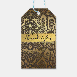 Snake Skin Animal Print Gold Foil Party Favor Gift Tags