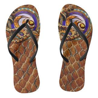 Snake Skin Customs Flip Flops