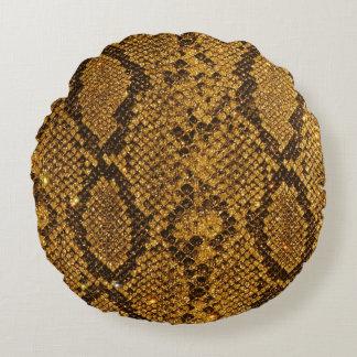 Snake Skin Pattern Print Round Pillow