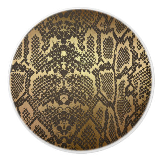 Snake Skin Print Modern Glam Gold Ceramic Knob
