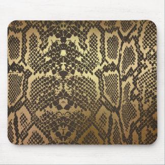 Snake Skin Print Modern Glam Gold Mouse Pad