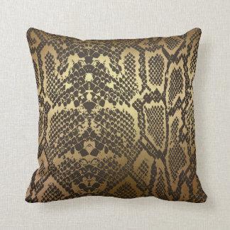 Snake Skin Print Modern Glam Gold Throw Pillow