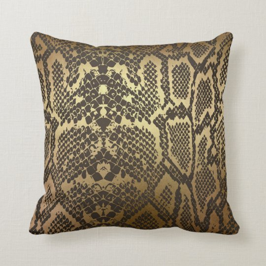 Snake Skin Print Modern Glam Gold Throw Pillow