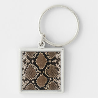 Snake Skin Silver-Colored Square Keychain