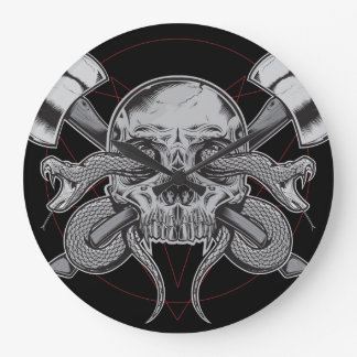 Snake, Skull Clock, with AXES Large Clock