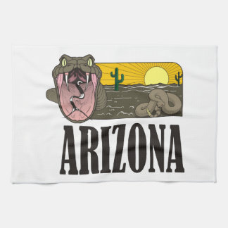 Snake State of Arizona USA: Rattlesnake and desert Kitchen Towel
