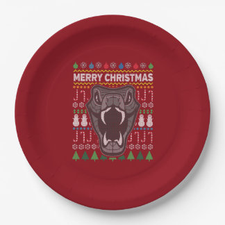 Snake Wildlife Merry Christmas Ugly Sweater 9 Inch Paper Plate