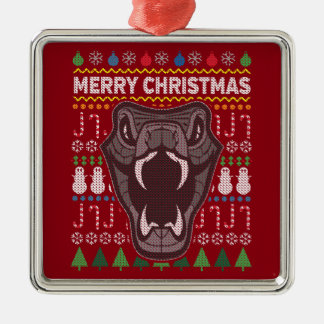 Snake Wildlife Merry Christmas Ugly Sweater Silver-Colored Square Ornament