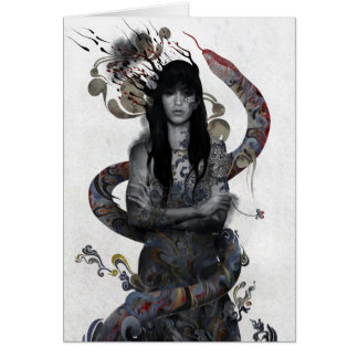 Snake Woman Greeting Cards