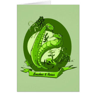 snakes and the roses cartoon style illustration card