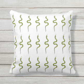 Snakes Hand-Drawn Green Slithering Scaly Snake Outdoor Pillow