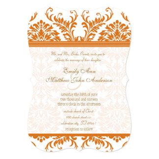 Snapdragon Coral & Ivory Damask Wedding Invite