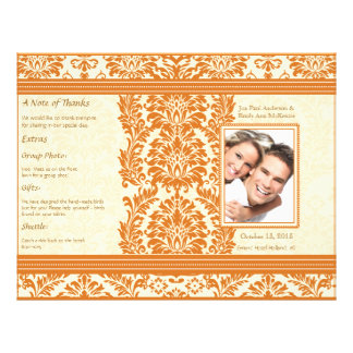 Snapdragon Coral Vintage Damask Wedding Program