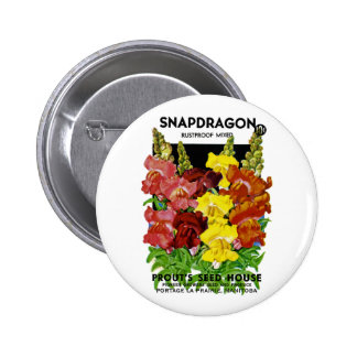 Snapdragon Vintage Seed Packet 2 Inch Round Button