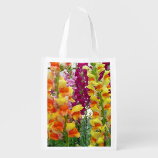 Snapdragons Colorful Floral Grocery Bags