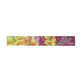 Snapdragons Colorful Floral Wrap Around Label