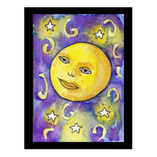 Snarky Moon and Stars Postcard