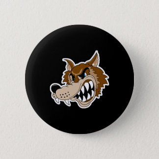 snarling brown wolf face 2 inch round button