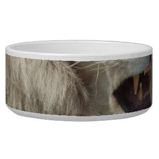 Snarling White Lion Dog Bowl