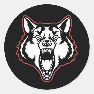 Snarling Wolf Classic Round Sticker