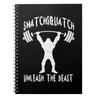 Snatchsquatch, Cartoon Big Foot, Beast, Funny Gym Notebook