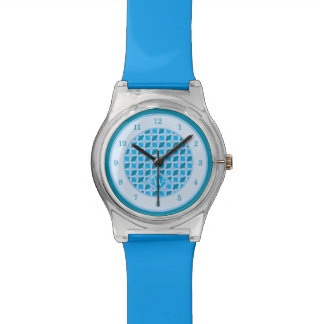 Snazzy Aqua Blue Diamond Pattern Custom Monogram Watches