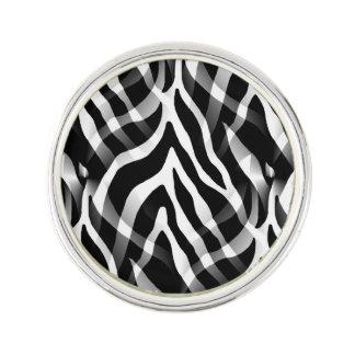 Snazzy Black and White Zebra Stripes Print Lapel Pin