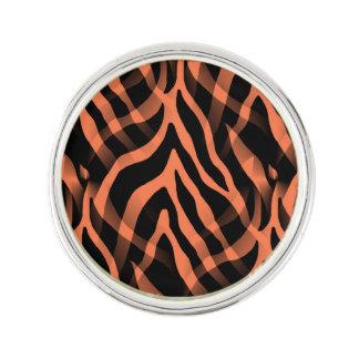 Snazzy Coral Zebra Stripes Print Lapel Pin