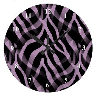 Snazzy Lavender Purple Zebra Stripes Print Large Clock