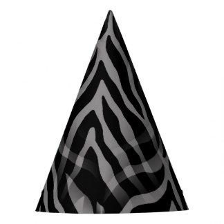 Snazzy Neutral Gray Zebra Stripes Print Party Hat