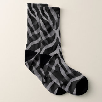 Snazzy Neutral Gray Zebra Stripes Print Socks