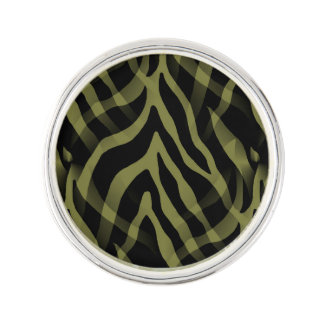 Snazzy Olive Green Zebra Stripes Print Lapel Pin