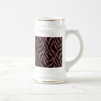 Snazzy Red Wine Zebra Stripes Print Beer Steins