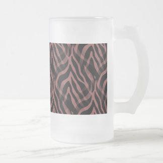 Snazzy Red Wine Zebra Stripes Print Frosted Glass Mug