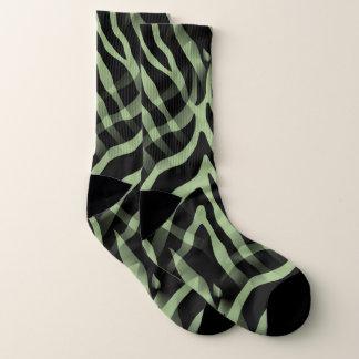 Snazzy Sage Green Zebra Stripes Print 1