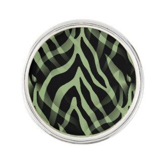 Snazzy Sage Green Zebra Stripes Print Lapel Pin