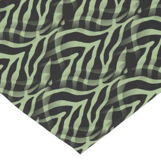 Snazzy Sage Green Zebra Stripes Print Short Table Runner