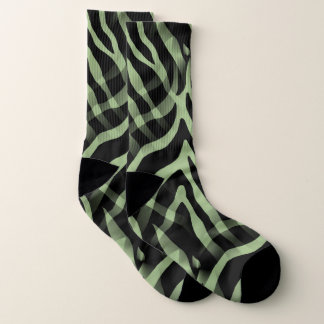 Snazzy Sage Green Zebra Stripes Print Socks