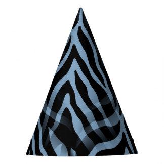 Snazzy Sky Blue Zebra Stripes Print Party Hat