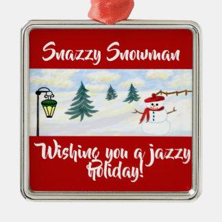 """""""Snazzy Snowman"""" Premium Square Ornament"""