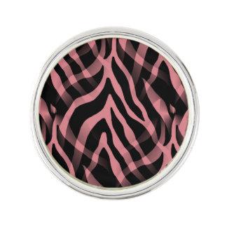 Snazzy Strawberry Pink Zebra Stripes Print Lapel Pin