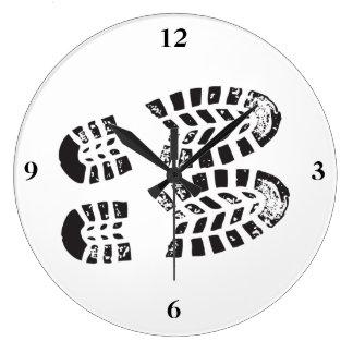 Sneakers Black & White Imprint Large Clock
