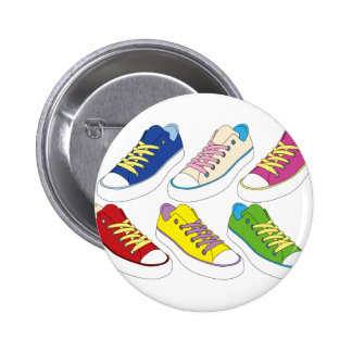 Sneakers drawing, colorful running shoes 2 inch round button