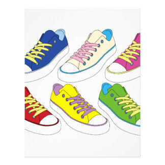 Sneakers drawing, colorful running shoes letterhead